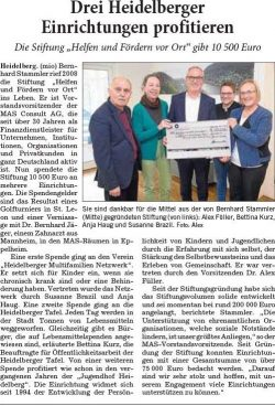 Drei Heidelberger  Einrichtungen profitieren