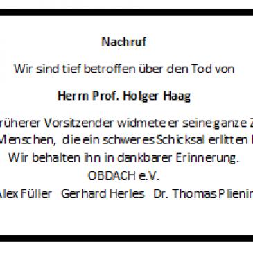 Nachruf auf Professor Holger Haag