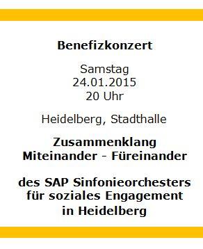 Benefizkonzert für soziales Engagement am 24.01.2015 in der Stadthalle