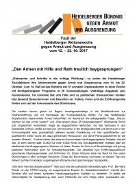 Fazit vom Heidelberger Bündnis zur Aktionswoche Armut 2017