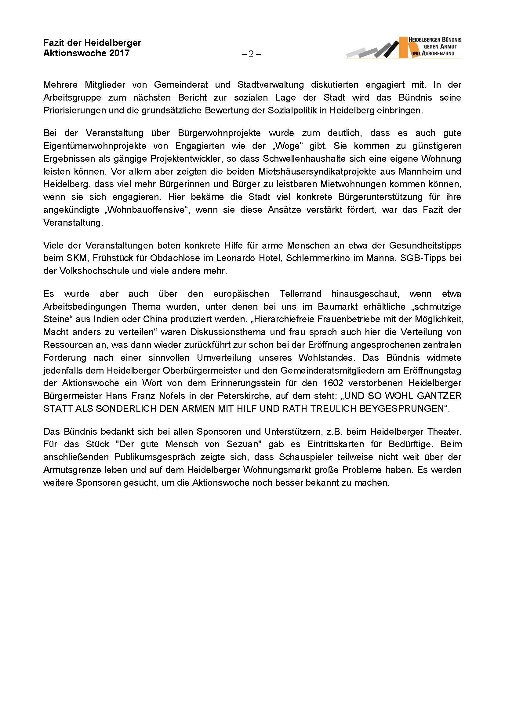 Fazit Vom Heidelberger Bündnis Zur Aktionswoche Armut 2017 Obdach