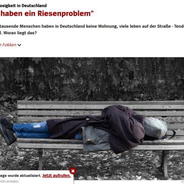 """Obdachlosigkeit in Deutschland: """"Wir haben ein Riesenproblem"""""""