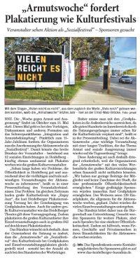"RNZ-Artikel: ""Armutswoche"" fordert Plakatierung wie Kulturfestivals"
