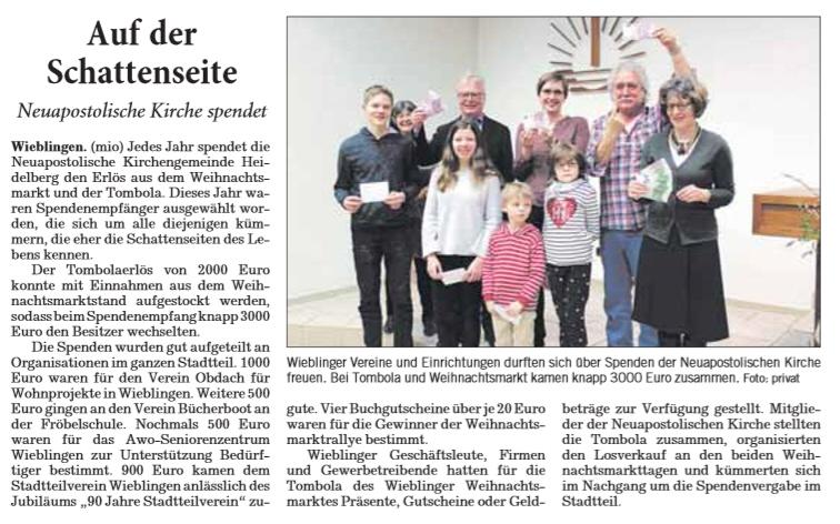 Spende der Neuapostolischen Kirchengemeinde Heidelberg