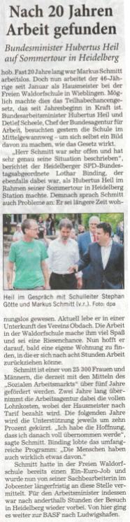 Bundesarbeitsminister trifft Betreuten von OBDACH e.V.