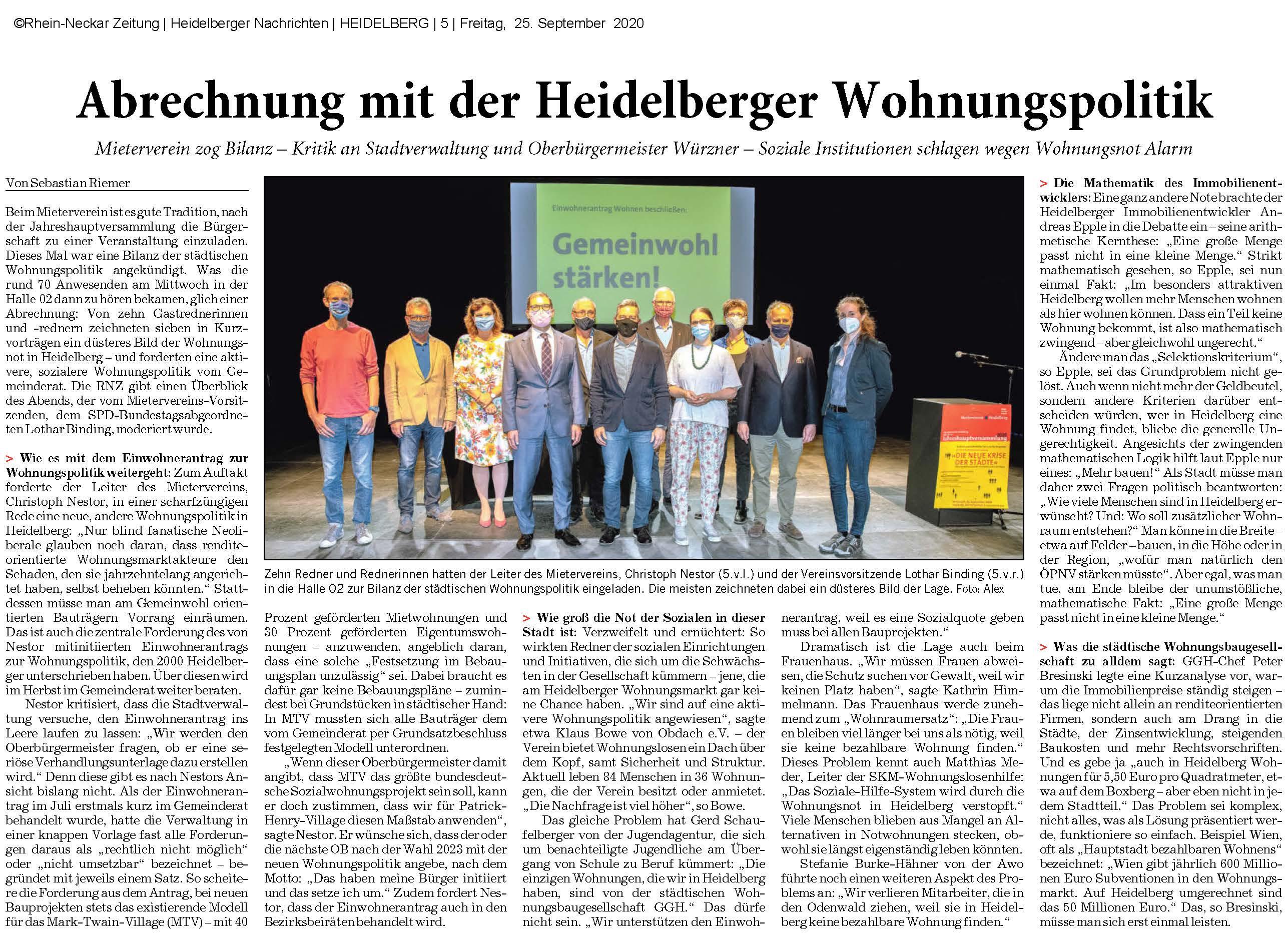 Presseartikel zur Heidelberger Wohnungspolitik