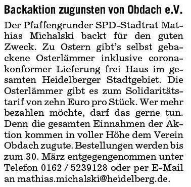 Oster-Backaktion zugunsten von OBDACH e.V.